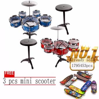 JAPAN and USA best selling free 3pcs mini scooter Jazz Drum+ChairKids Early Education Toy Percussion Instrument Gift