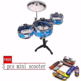 Jazz Drum Playset Percussion Musical Instrument IntelligenceEducational Toy for Boy Girl Kids Baby Children Gift Blue with free3 pcs mini scooter