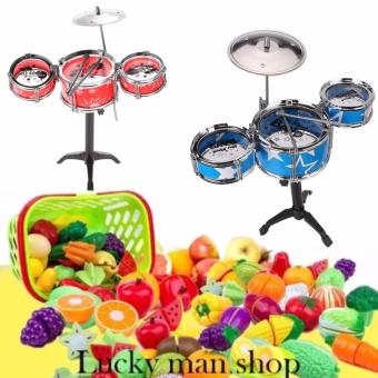Jazz Drum Playset Percussion Musical Instrument IntelligenceEducational Toy for Boy Girl Kids Baby Children Giftand PlasticCutting Fruits and Vegetables Set with Dish Play Food Set forPretend Play