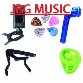 JBG Music Guitar Capo tuner tool kit(Tuner,Capo,String winder, Pick Holder) for acoustic electric guitar