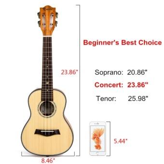 Kmise Classical Concert Ukulele Beginner Kit Solid Spruce Mahogany23 Ukelele Hawaii Guitar for Starter and FREE 9 GIFTS - intl - 5