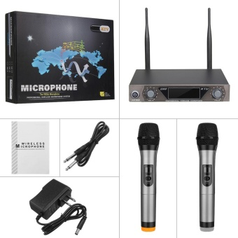 LCD Dual Channel 2 Mic Professional Handheld UHF KTV Wireless Microphone System - intl