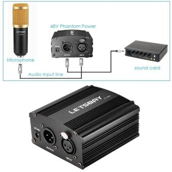 LETSBAY 1- Channel 48V Phantom Power Supply Black with Adapter andOne XLR Audio Cable for Condenser Micro Recording Equipment - intl - 2