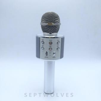 Microphone Wireless KTV Karaoke Bluetooth Handheld Mic HIFI Speaker(Silver)WS858