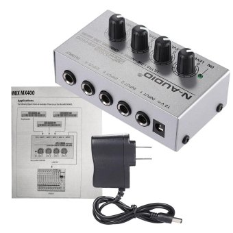 MX400 Ultra-compact Low Noise 4 Channels Line Mono Audio Mixer with Power Adapter Outdoorfree - intl