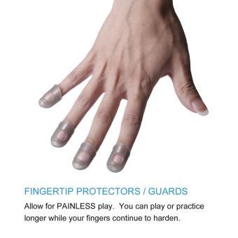 OH Reusable Durable Guitar Fingertip Protectors Finger Guards For Ukulele Guitar Gray - 3