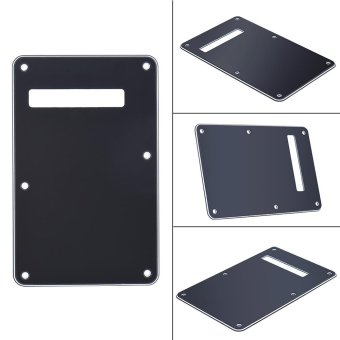 Pickguard Tremolo Cavity Cover Backplate Back Plate 3Ply for FenderStratocaster Strat Modern Style Electric Guitar Black Outdoorfree -intl