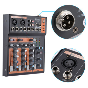 Portable 4-Channel Mic Line Audio Mixer Mixing Console 3-band EQ USB Interface 48V Phantom Power with Power Adapter - intl