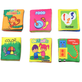Soft Cloth Book Baby Kid Child Intelligence Development LearningShapes Number Cute Animals Color Character Food Cognize Book FabricBook Quiet Rag Book - Intl
