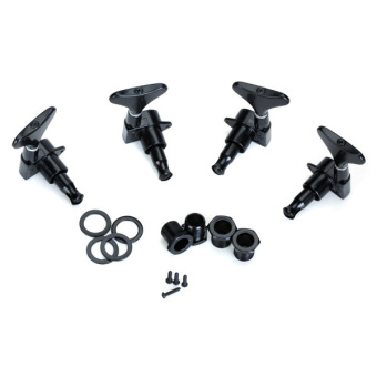 TwoPairs Black String Tuning Pegs Machine Heads for Electric Bass2L + 2R (Black) - 2