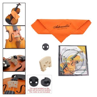 Violin 4 in 1 Set of Strings/Rubber Mute/Maple 4/4 Bridge/CleaningCloth Accessories Parts Replace Tool - 5