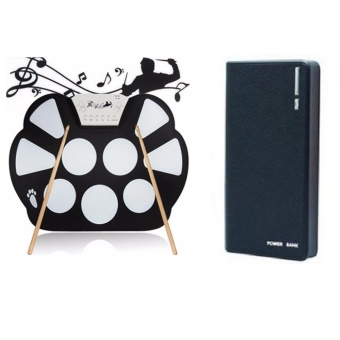 W758 Digital Portable 9 Pad Musical Instrument Electronic Roll-up Drum Kit With Wallet Style Power Bank 20000mAh