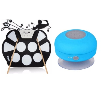 W758 Digital Portable 9 Pad Musical Instrument Electronic Roll-upDrum Kit With Bluetooth Waterproof Speaker