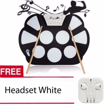 W758 Digital Portable 9 Pad Musical Instrument Electronic Roll-upDrum Kit with Headset White