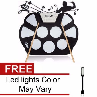 W758 Digital Portable 9 Pad Musical Instrument Electronic Roll-upDrum Kit with Led Lights Color May Vary