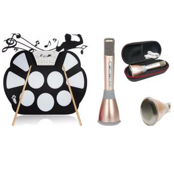 W758 Digital Portable 9 Pad Musical Instrument Electronic Roll-upDrum Kit With Mini Karaoke K068 Home KTV Handheld WirelessBluetooth Microphone with Mic Speaker with Case