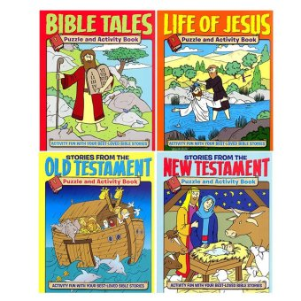 WS Bible Puzzle & Activity Book Set of 4 (Bible Tales, Life of Jesus, and Stories from the Old & New Testament)
