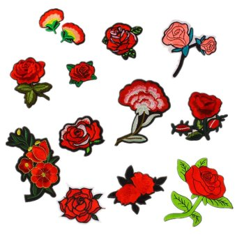 12 PCS Exquisite Red Flowers Pattern DIY Clothes Patches StickersEmbroidered Sew Patches 12 Styles Clothes Accessories for T-shirtJeans Clothing Bags - intl