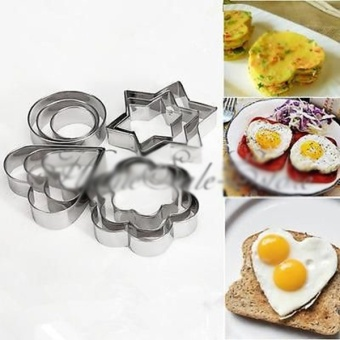 12pcs Stainless Steel Cookie Cake DIY Mold Star Heart Fruit CutterShape - intl
