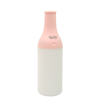 180ml Mini Bottle Ultrasonic USB Air Humidifier Portable Cool Mist Humidifier with Warm Nightlight for Office Home Room Bedroom Pink