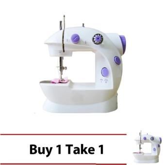 2-Speed Mini Electric Sewing Machine Kit (White/Lavender) Buy 1Take 1