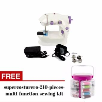 2 Speed Mini Electric Sewing Machine Kit (White/Lavender) with FREE Deluxe Sewing Kit Storage Caddy Organizer 210 Piece Set