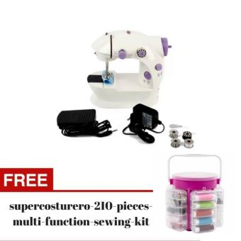 2 Speed Mini Electric Sewing Machine Kit (White/Lavender) with FREEDeluxe Sewing Kit Storage Caddy Organizer 210 Piece Set