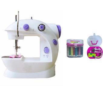 2-Speed Mini Electric Sewing Machine Kit (White/Lavender) With Portable Mini Cute Travel Thorn Rust Sewing Kit Box Needle Threads DIY Home Tool