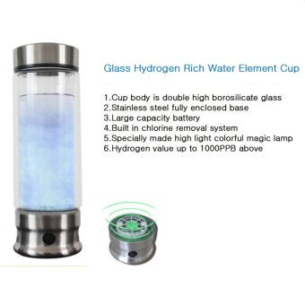 2017 New 420 Milliliters of Hydrogen Rich Water Element Cup Rechargeable Portable Glass Cup Health Preserving Cup(silver) - intl