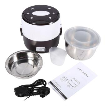 220V 2 Layers Electric Heated Lunch Box Set Multifunctional FoodWarmer(Coffee) - intl