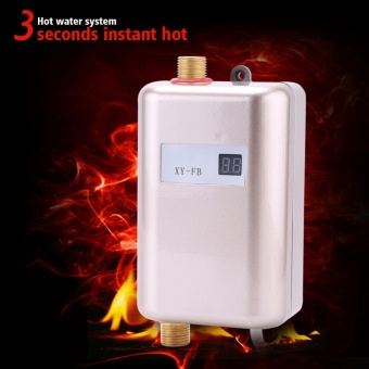 220V 3400W Mini Instant Hot Water Heater Bathroom Kitchen Electric Tankless Machine- Golden - intl - 2
