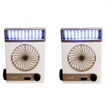 3 in 1 Solar Light Fan Set of 2 (White/Champagne) - picture 2