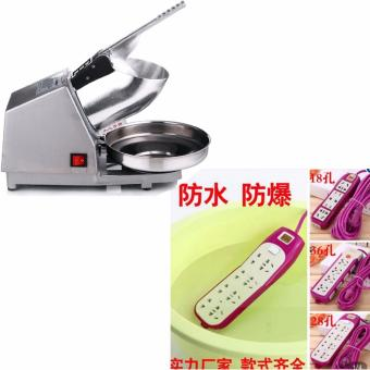 300W Ice Smashing Electric Crusher Machine (Silver) With XZY- 8-Gang Outllet Water Proof Power Extension 180cm (Purple)
