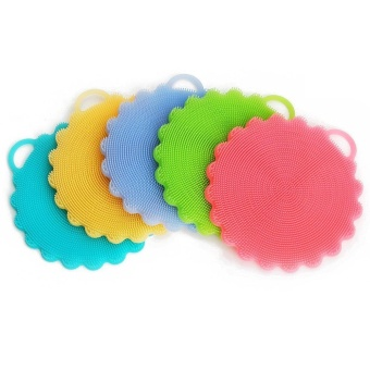 5 pcs Food-grade Antibacterial Silicone Non Stick Dishwashing Dish Brush Towel Scrubber For Kitchen Wash Pot Pan Dish Bowl - intl