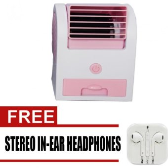 5188/JY-010 Mini Fan (Pink) with Free Stereo In-Ear Headphones foriPhones (White)
