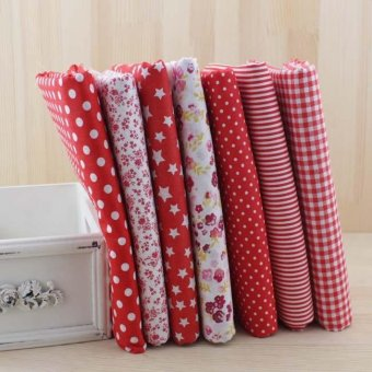 7pcs/lot Red Color Sets 100% Cotton 50cm X 50cm Fabric for DIYSewing Quilting Tissue Textile Doll Cloth - intl