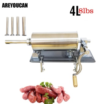 AREYOUCAN AY6704 8lbs Horizontal Sausage Stuffer Filler StainlessSteel Manual Homemade Sausage Maker Meat Processor Tool SausageSalami Maker - intl