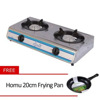 Asahi GS-667 LPG Auto Gas Stove 2 Burner Stainless with Free Homu20cm Frying Pan Price Philippines