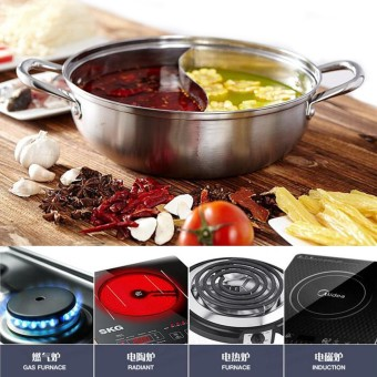 Audew 28cm Stainless Steel Twin Divided Cookware Shabu-Shabu Induction Pot Compatible NEW - intl