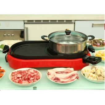 BBQ Barbecue Electric Pan Grill Teppanyaki Hot Pot Steamboat