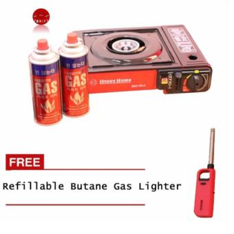 BDZ-155-A Portable Gas Stove (Black and Red) with 2x Casette GasAnd Plus FREE 1xRefillable Butane Gas Lighter