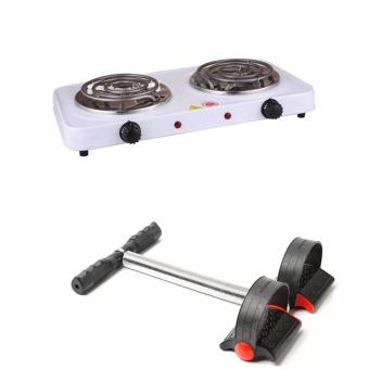 Best Quality 1000W Double Burner Hot Plate Electric Cooking YQ-2020B with L1013J Tummy Trimmer (Black)
