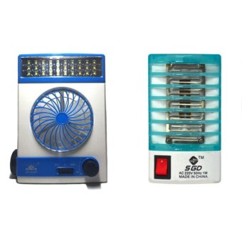 Better101 3 in 1 Solar Light Fan (White/Blue) with Electron Go OutMosquito Mini Night Lamp Bundle