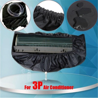 Black Waterproof Air Conditioner Cover Washing Clean Protector + 3 m Water Pipes For 3P - intl