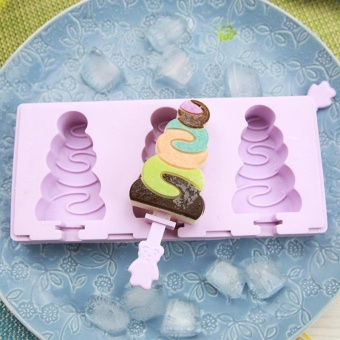 BUYINCOINS 3 Cell DIY Silicone Ice Cream Mold Popsicle Molds Popsicle Frozen Ice Mould(Christmas Tree) - intl