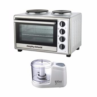 Convection Rotisserie Mini Oven 28L (Stainless Steel) with ElectricMeat Grinder Cooking Machine (White)
