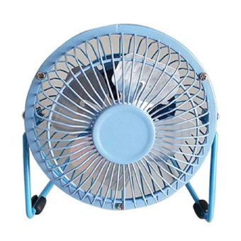 D&D Super Mute 360-degree Rotating Metal Blade USB Mini Desktop Cooling Electric Fan (Blue)