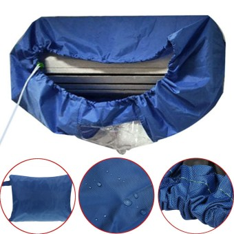 Dark Blue Air Conditioner Cleaning Dust Washing Waterproof Cover Clean Protector - intl