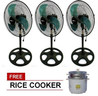 "Denki DISF-16 16"" Metal Blade Stand Fan Set of 3 with Free RiceCooker Price Philippines"