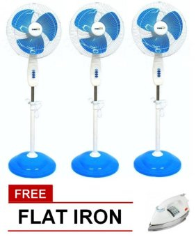 "Denki DSF-16 16"" Switch Box Stand Fan (Blue) Set of 3 with FreeFlat Iron Price Philippines"